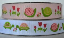 22mm TULIPS, TORTOISES AND SNAILS GROSGRAIN RIBBONS